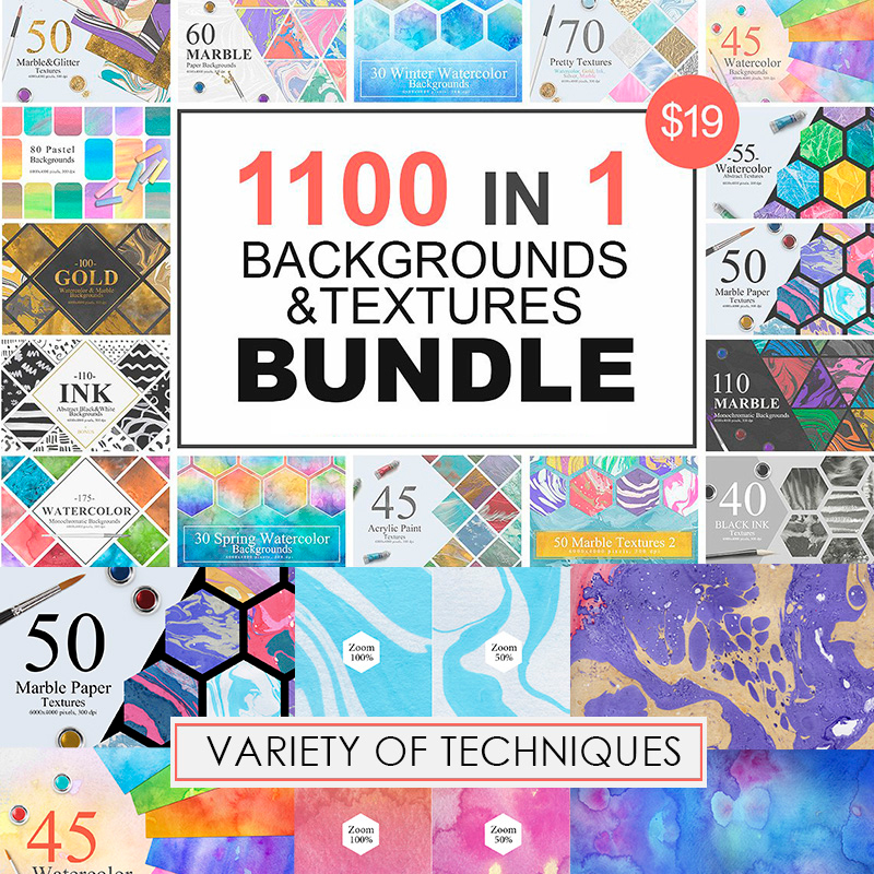 1100 Artistic Backgrounds and Textures - Bundle