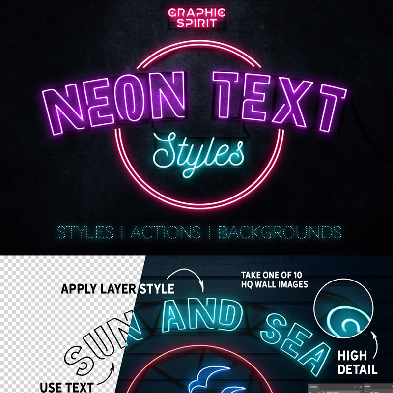 Neon Text Layer Styles & Extras Bundle