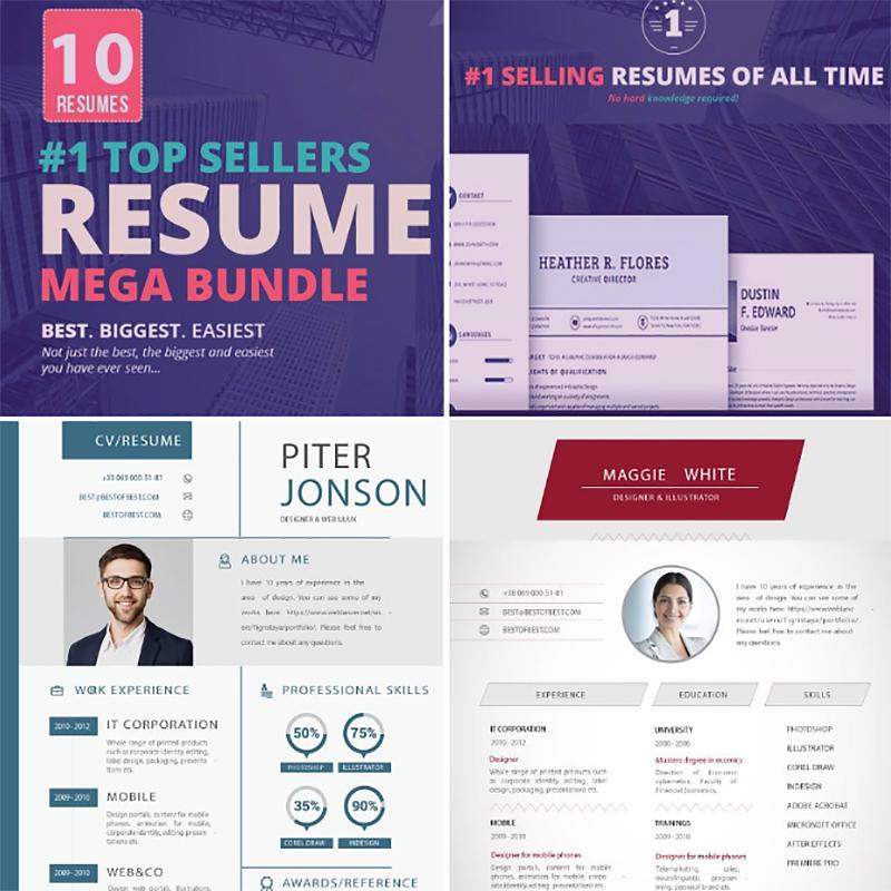 Top Selling Resume/CV Bundle: 10 Templates Bundle