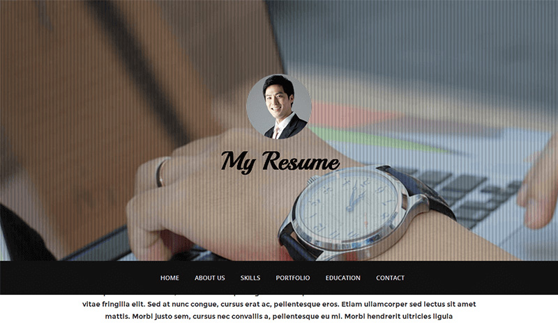 Personal-Portfolio Free CSS Templates - My Resume : Bootstrap