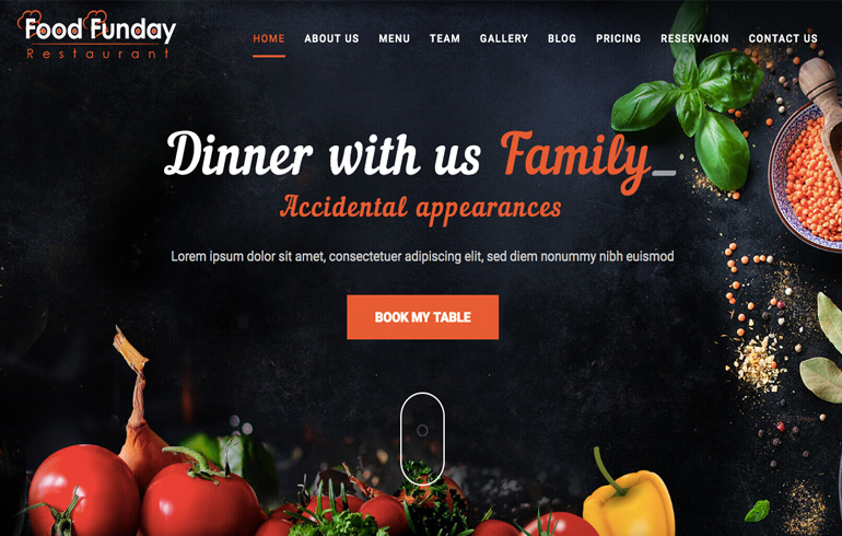 free css restaurant Website template