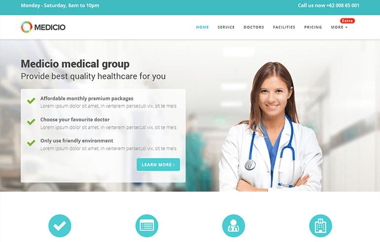 free landing medical Website template