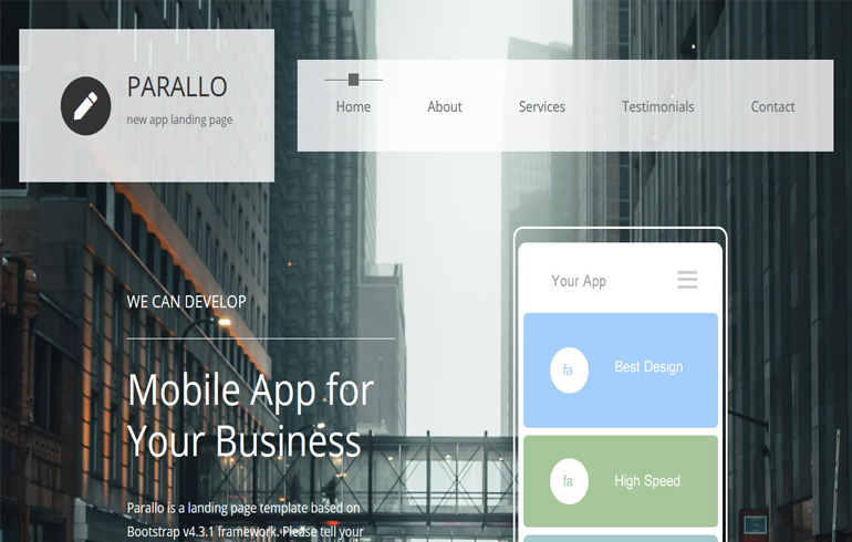 Parallax Scrolling Theme free