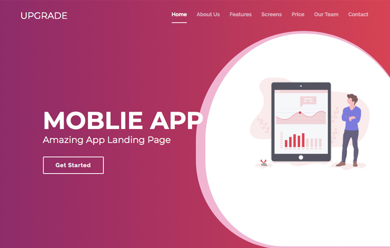 free css app landing mobile template