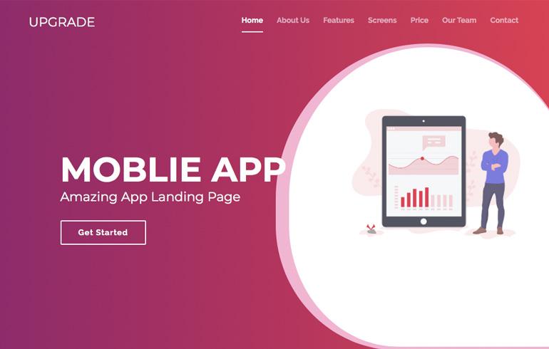free css app landing mobile template