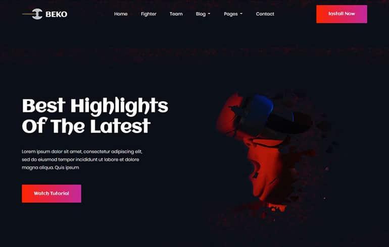free HTML5 website for game website