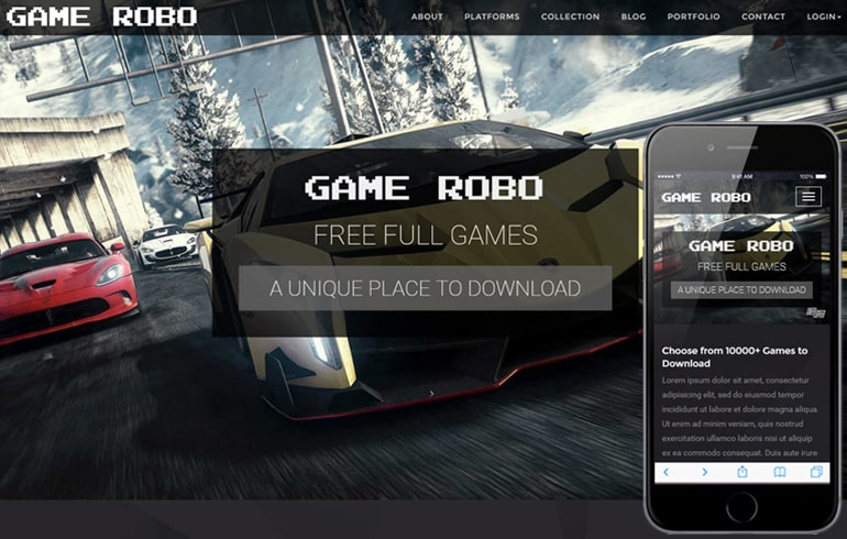 free HTML5 templates for game website