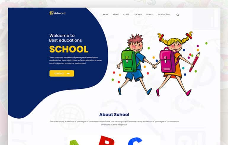 Free PSD Template for School Websites