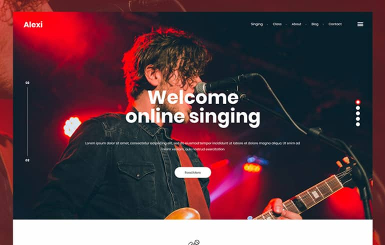Free PSD Template for Online Singing Websites