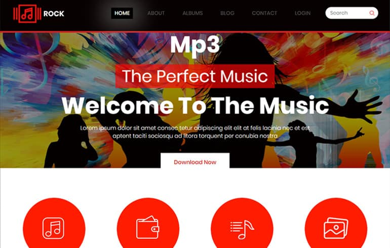 free HTML5 templates for rock music website