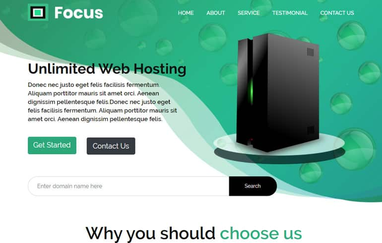 free HTML5 templates for Web hosting