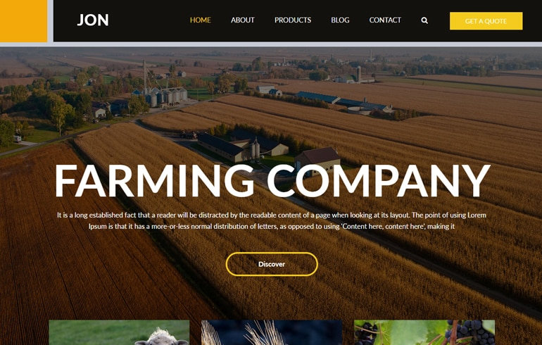free farming website template