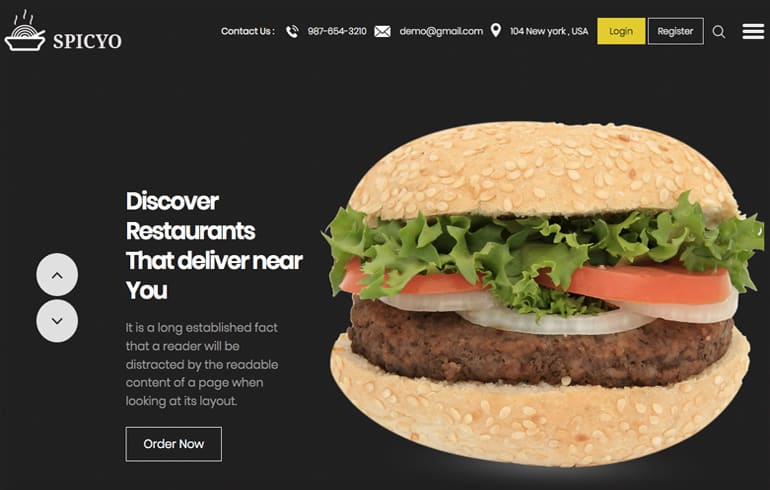 free online restaurant Website template