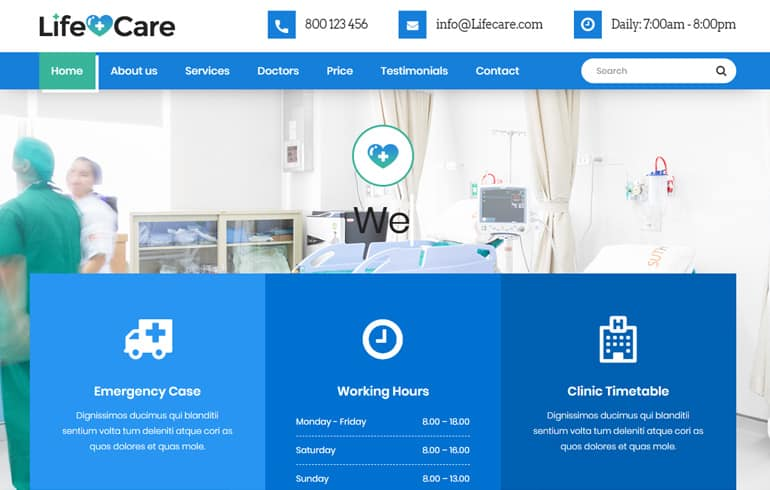 free css medical Website template