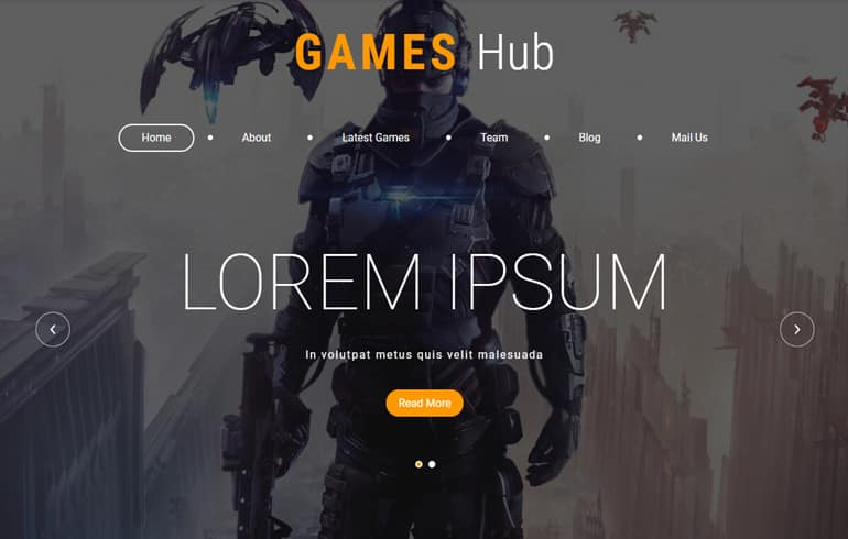 free HTML5 templates for gaming website