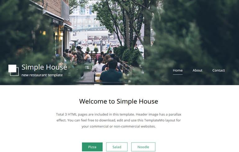 free online parallax restaurant Website template