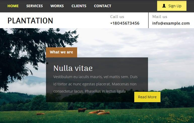 free farming website template