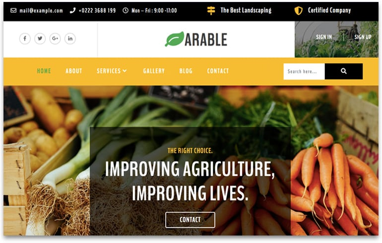 free online website template organic farm