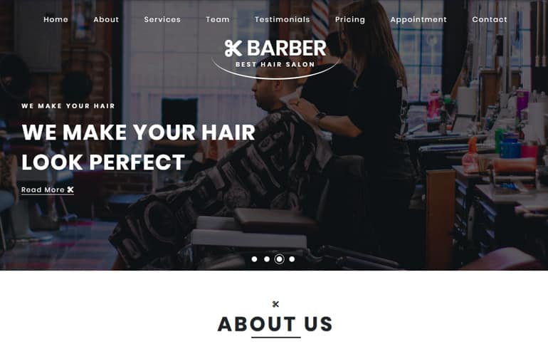 Free Hair CSS Template for Barber
