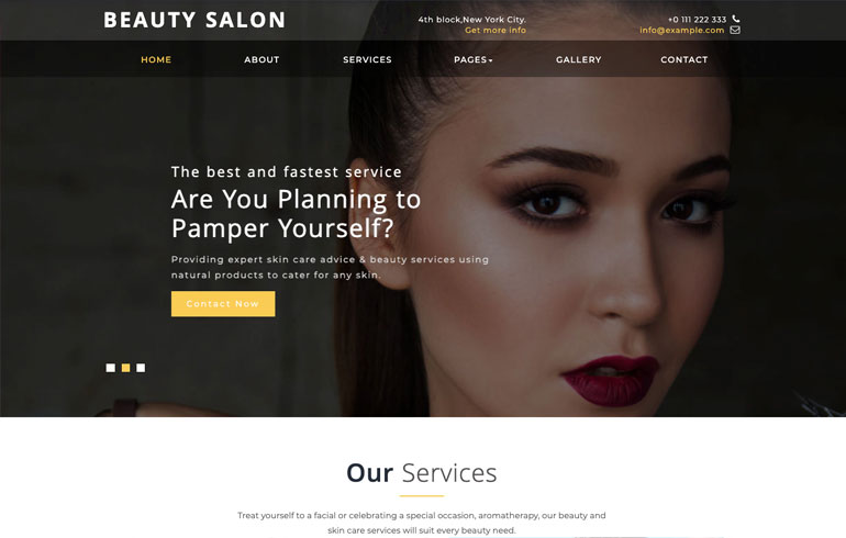 beauty template for spa website