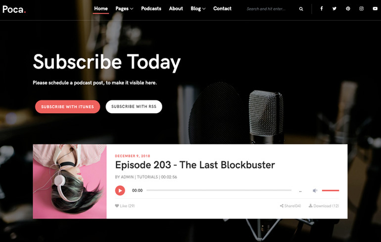 free HTML5 templates for podcast website for musical business