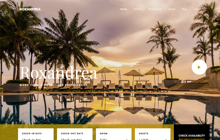 free hotel template accommodation