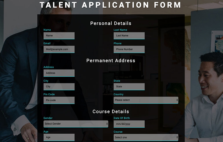 free css app form template