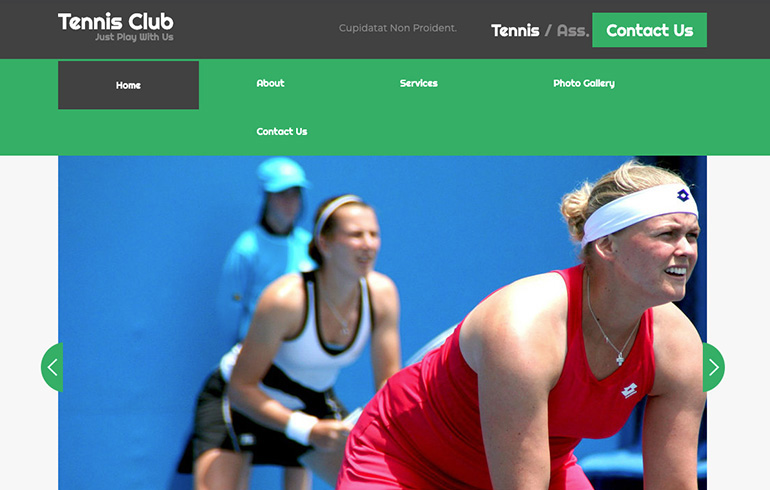 free bootstrap template for tennis