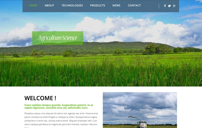 free online website template agriculture business website
