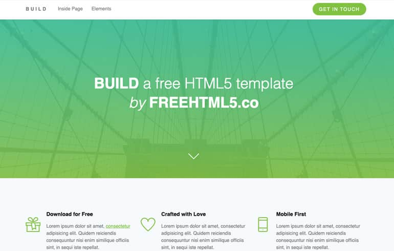 Build - A Free Retina Ready Template