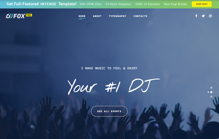 free HTML5 templates for DJ music business