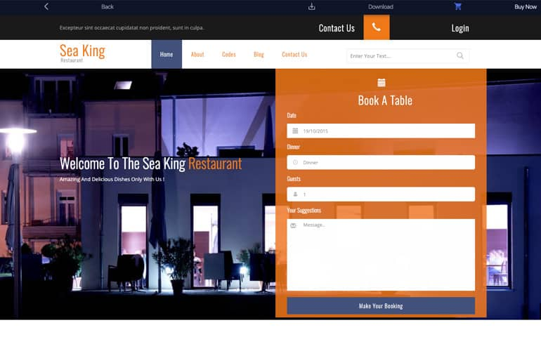 Sea King - A Restaurant Template