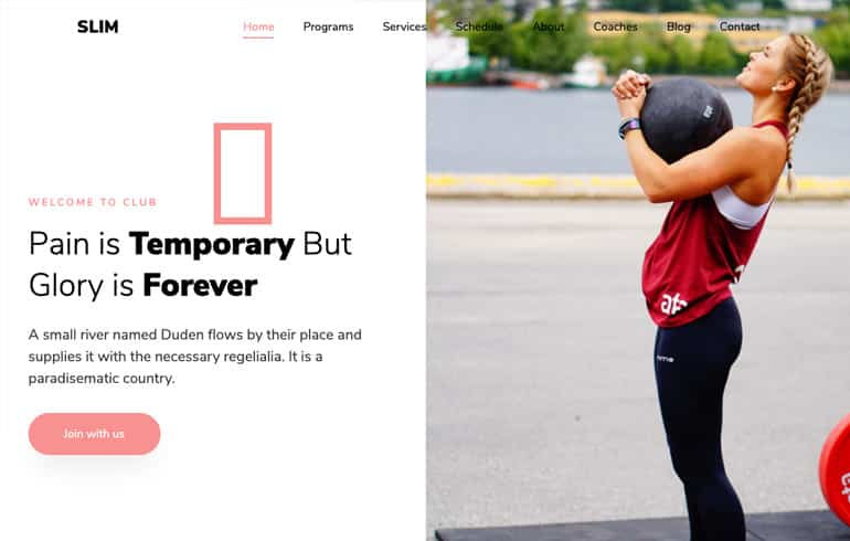 Slim2 - An Outstanding Free Fitness template