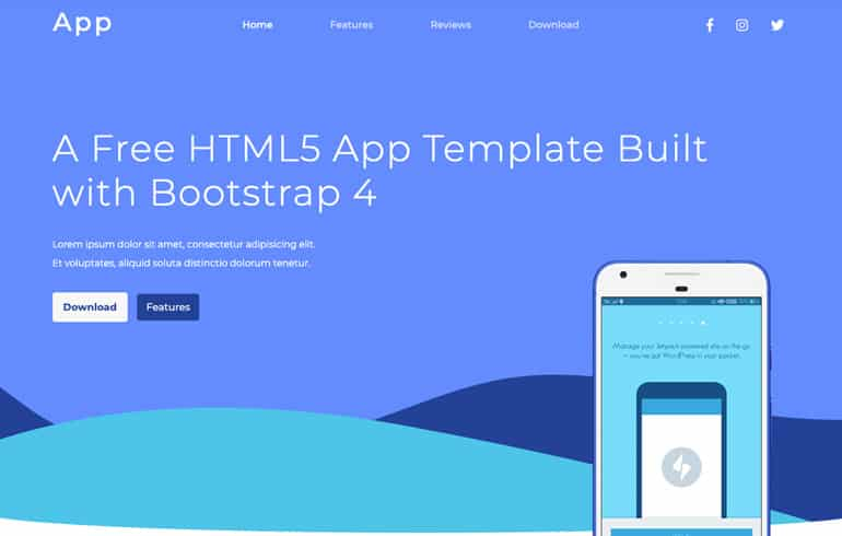 free css app template
