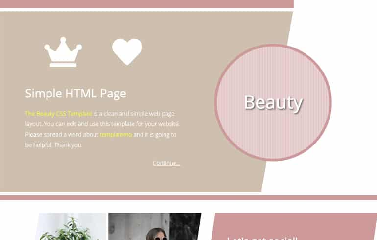 beauty template for beauty website