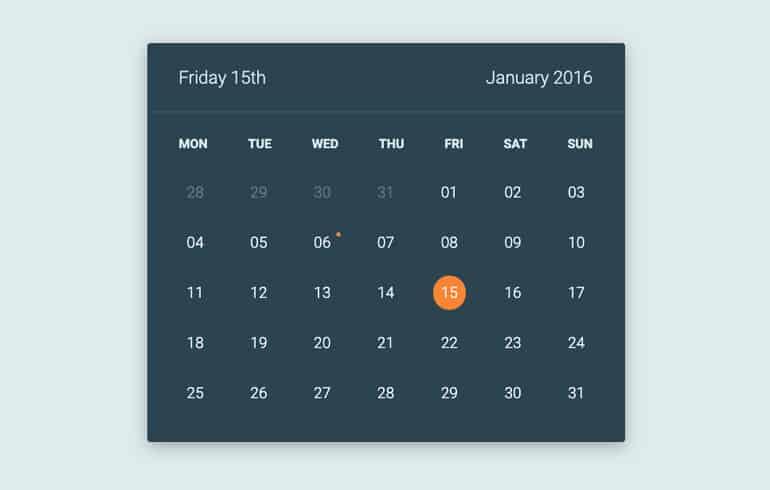 Free CSS 3D Calendar