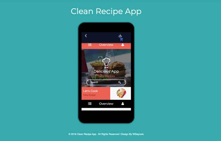 free css app template for food