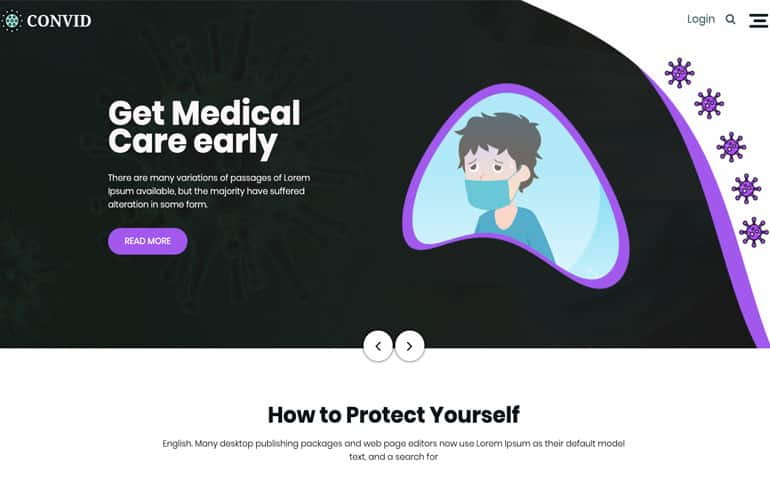 Free Css Website Template for medical service for covid 19