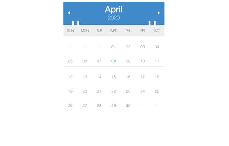 Free CSS Calendar with Realistic Planner