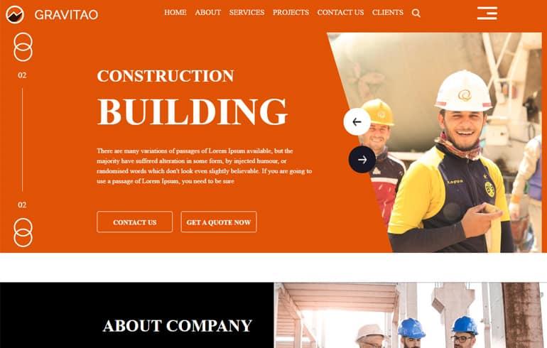 Free Gravita – Construction HTML Template
