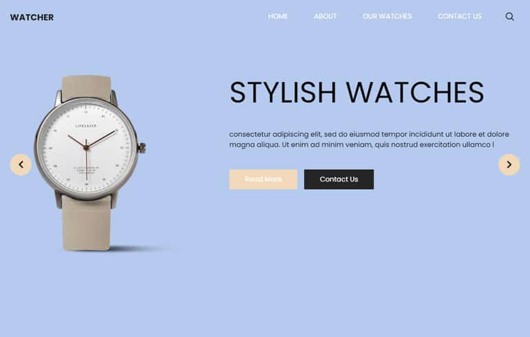 Free Watch HTML Template for eCommerce
