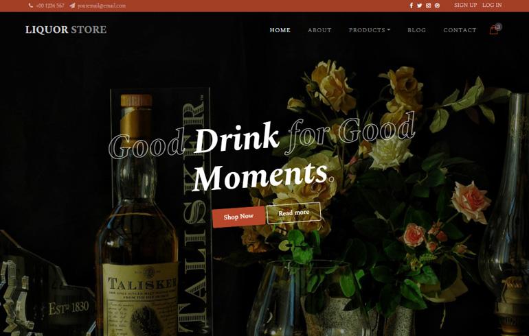 Free Liquor Shopping HTML Template